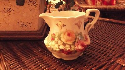 Antique Vintage Creamer W/ English Yellow & Pink Roses And Lilies Of The Valley