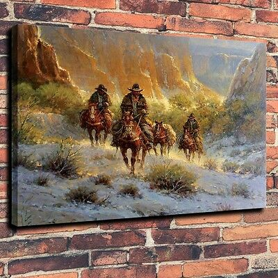 """Art Quality Canvas Abstract Oil Painting Western Riders, Canyon A5924,16""""x20"""""""