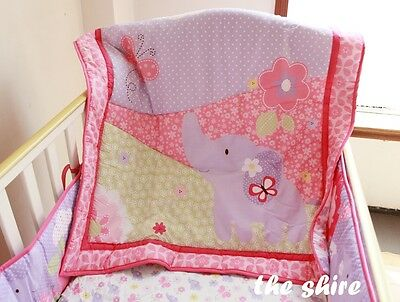 Baby Bedding Crib Cot Quilt Set- NEW 5pcs Quilt Bumper Sheet Dust Ruffle Nappy S