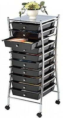 10-Drawer Rolling Organizer Cart, High Quality, Bright Chrome Metal Mobile