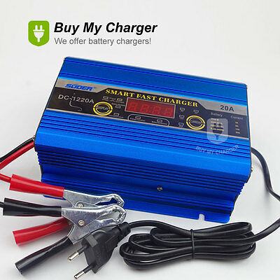 Intelligent 12V 20A 200ah Three-phase Smart Fast Battery Charger  LED Display
