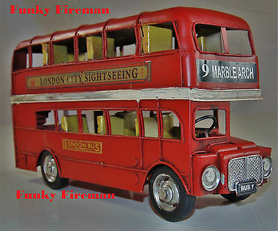 Route master London bus tinplate model - Vintage classic transport ornament gift