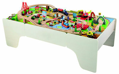 Bubbadoo Wooden Train Table with 100pc Train Set accessories