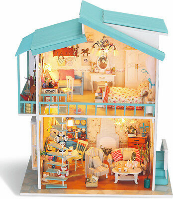 DIY Wooden Doll House Handmade Craft Miniature Kit Furniture Accessories
