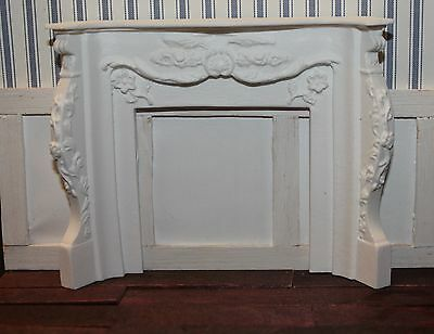 DOLLHOUSE MINIATURE Large Ornately Carved Fireplace