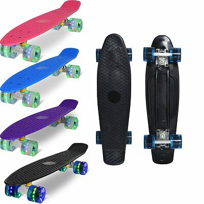 "Skateboard 22"" Retro Mini Longboard Penny Board Pattino Completo Ruote A Led"
