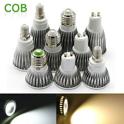 CREE E27 E14 GU10 LED Spot Light Bulb COB Spotlight 6W 9W 12W Cool/Warm White