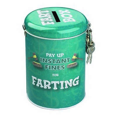 Farting Fines Money Tin – piggy bank coin coins cash savings lock key