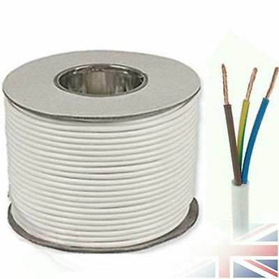 White Round 3183Y 1.5mm 15 Amp 3 Core Flexible Cable Wire Electrician Install
