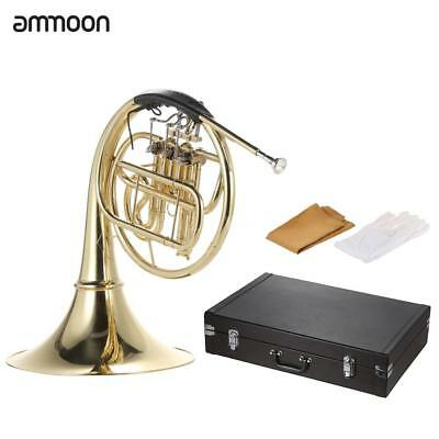 ammoon French Horn B/Bb Flat 3 Key Brass Gold Lacquer Single-Row Split+Case O9S4