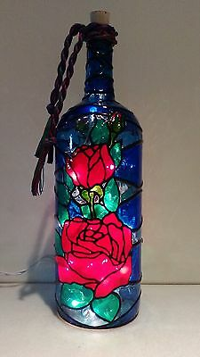 Roses Bottle Lamp Handpainted Stained Glass Look Lighted
