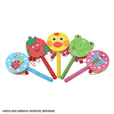 Wooden Hand Shaking Drum Rattle Sound Instrument Toy Gift for Baby Child F9C2