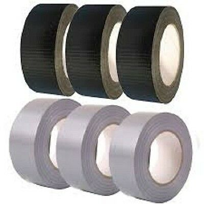6 extra strong black/silver cloth gaffa duct tape 50mm X 50M