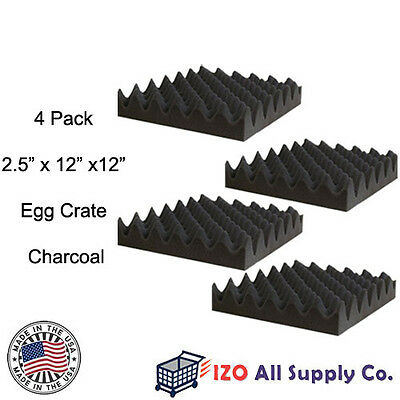 """4 Pack-Acoustic Studio Soundproofing Egg Crate Foam Wall Tiles 2.5"""" X 12"""" X 12"""""""