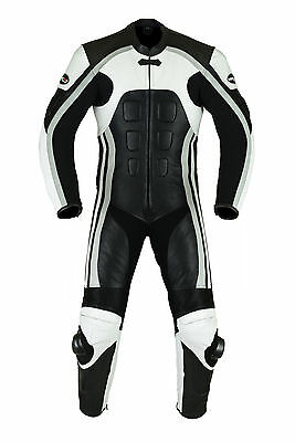 MOTERO'S Men,s Motorcycle Motorbike CE Armour Leather Racing Bikers Suits ONE Pc
