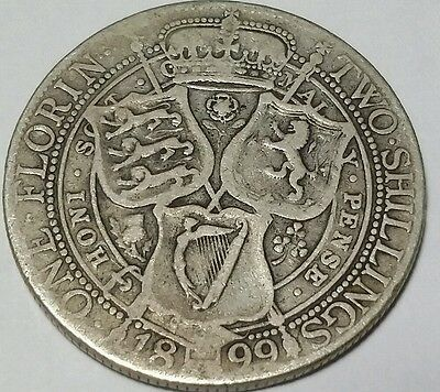 1899  Silver  Great Britain  Florin  Km-781  Circulated  Nice Details!!