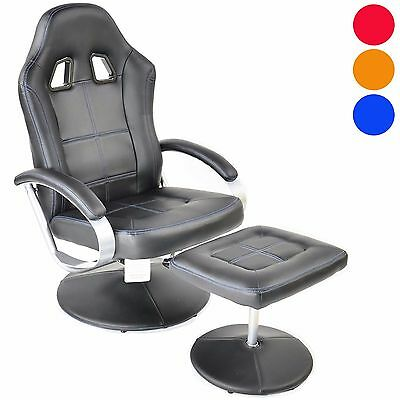 Racing Style Recliner Gaming Chair with Footstool High Back Faux Leather Racing