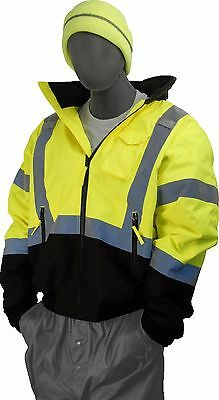 Majestic 75-1311 Class 3 High Viz Lime Green Waterproof Bomber Jacket