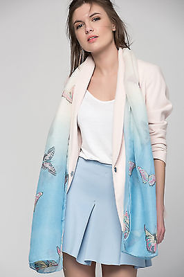 Soft Blue & off White Butterfly Print Women Ladies Girl Scarf Shawl Stole Hijab