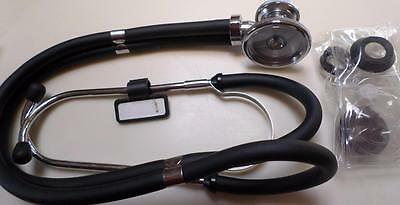 Double Dual Head Stethoscope Doctor Nurse EMT Vet Medical Health Care Black