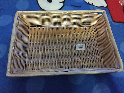 Lot of 6! Tablecraft 1188W Rectangle Ratten Basket 14x10x3 NEW!