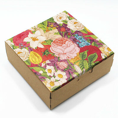Kraft Paper Packaging Boxes With Flowers Gift Crafts Candy Jewelry Packing Boxes