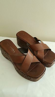 ce7d2b14c8c VIA SPIGA  LARISSA  Leather Wedge Sandals Size 7 Euc -  24.99
