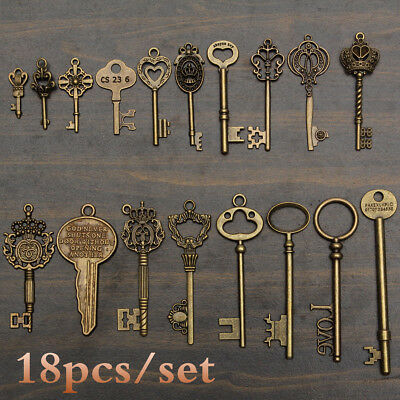 18Pcs Antique Vintage Old Look Skeleton Key Pendant Heart Bow Lock Steampunk