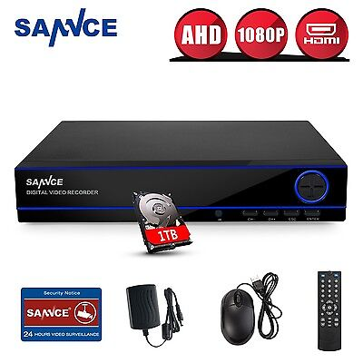 SANNCE 8CH 1080P AHD Security DVR CCTV Digital Video Recorder HDMI P2P 1TB HDD