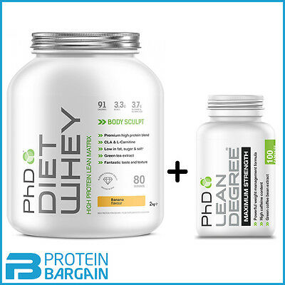 PHD DIET WHEY 2kg + Lean Degree 100 Caps Slimming Shake Weight Loss ALL FLAVOURS