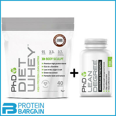 PHD DIET WHEY 1KG + Lean Degree 100 caps Slimming Shake Weight Loss