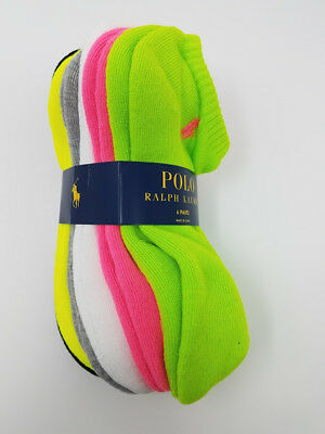 Polo Ralph Lauren Women's 6 pack Quarter Sport Socks 9-11, Athletic, Multi-Color
