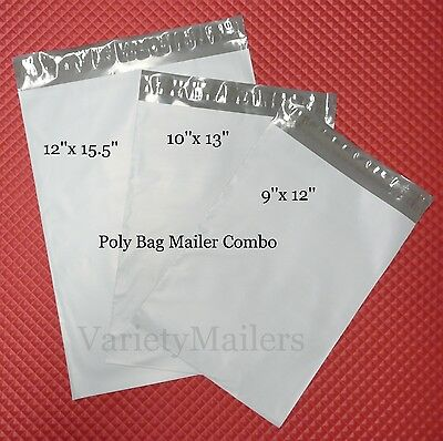 150 Poly Bag Shipping Envelope Variety Pack ~ 3 Sizes ~ Self-Sealing Mailers