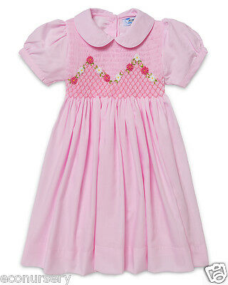 NEW Aurora Royal Baby,Girls 'Clematis Flower'Hand Smocked Pink Cotton Mix Dress