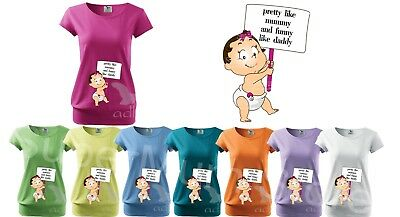 Maternity Pregnancy Funny T-shirt Top Baby Shower Gift Peeking baby Like Daddy