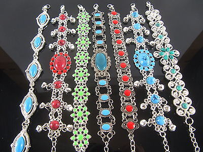 "24pcs Mix Tibet Silver Alloy Folk custom Bracelets Wholesale Bulk 8.7"" inches"