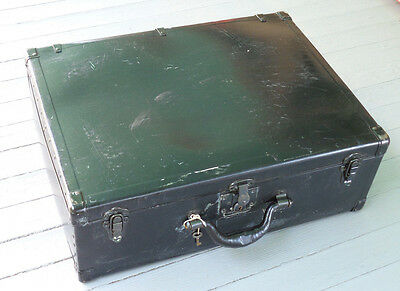 Vintage Suitcase Trunk Luggage Fibre Products Mfg Co New York Black with Key