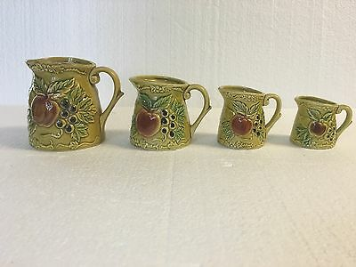 Vintage Ceramic  Measuring Cups 4 cups green numbered on bottom