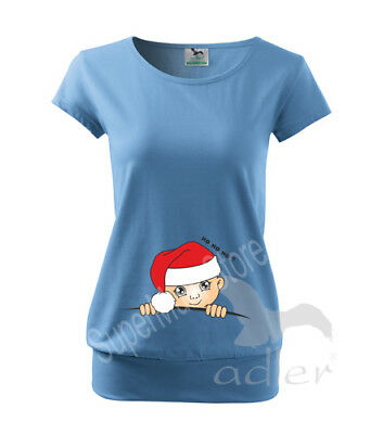 Santa Xmas Maternity Pregnancy Funny T-shirt Top Baby Shower Peek a boo Gift