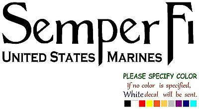Semper Fi Marines Color Printed Decal Sticker Car Window Wall