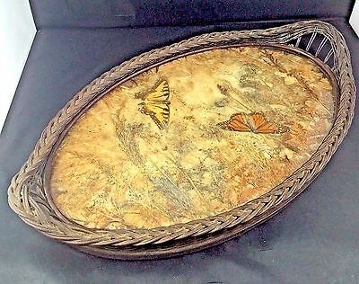 Antique Butterfly Tray Wicker Edges Dry Flowers Glass Top Circa 1900