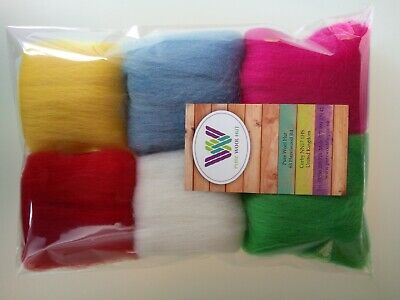 30 g Pure Wool Tops for Felting  6 colours set, Spring