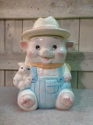Vintage & Collectible Smiling Farmer Pig W / Straw Hat Holding Bunny Cookie Jar
