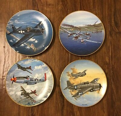 FOUR The Hamilton Collection Great Fighter Planes Of WWII Limited Edition Plates