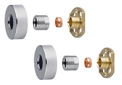 """Thermostatic Shower Bar Mixer Valve 3/4"""" Round Brass Fast Easy Fit Fixing Kit"""