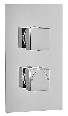 Square Concealed Thermostatic Shower Mixer Valve 2 Handle 1 Outlet Brass Chrome