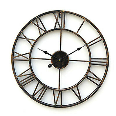 LARGE OUTDOOR GARDEN WALL CLOCK BIG ROMAN NUMERALS GIANT OPEN FACE METAL 20 inch
