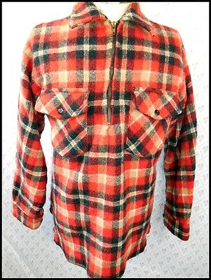 Vintage 1970s Red & Black Plaid Pure Wool New Zealand Alpine Winter Overshirt M