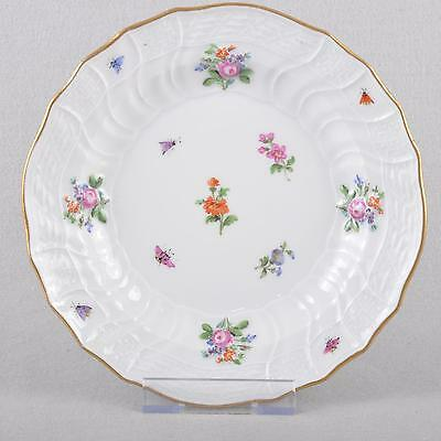 """Meissen Scattered Flowers And Insects Plate Neubrandenstein 7.8740"""" 1850"""