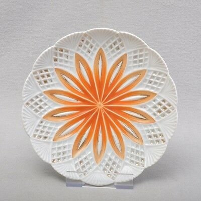 Plate For Wall In Orange And Gold Detail With 7.2835""